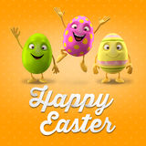 Happy Easter postcard, greeting card, merry easter congratulation. Happy Easter egg, merry 3D cartoon object stock illustration