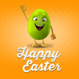 Happy Easter postcard, greeting card, merry easter congratulation. Happy Easter egg, merry 3D cartoon object Stock Images