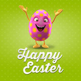 Happy Easter postcard, greeting card, merry easter congratulation. Happy Easter egg, merry 3D cartoon object Royalty Free Stock Photography
