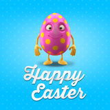 Happy Easter postcard, greeting card, merry easter congratulation. Happy Easter egg, merry 3D cartoon object Stock Photos