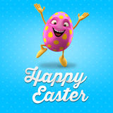 Happy Easter postcard, greeting card, merry easter congratulation. Happy Easter egg, merry 3D cartoon object royalty free illustration