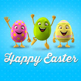 Happy Easter postcard, greeting card, merry easter congratulation. Happy Easter egg, merry 3D cartoon object Stock Photo