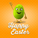 Happy Easter postcard, greeting card, merry easter congratulation. Happy Easter egg, merry 3D cartoon object Royalty Free Stock Image