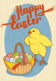 Happy Easter Postcard. With Little Chicken and Easter Egg Basket Stock Photography