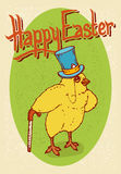 Happy Easter Postcard. With LIttle Chicken Gentleman Royalty Free Stock Photography