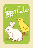 Happy Easter Postcard. With Little Chicken and White Bunny Stock Photography