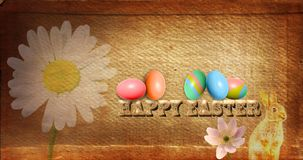Happy Easter Postcard with Old Style Paper. Happy Easter postcard for writing that is include eggs with colour and a rabbit and flowers royalty free stock images