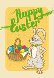 Happy Easter Postcard. With Rabbit and Egg Basket Stock Photography