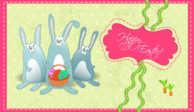 Happy Easter postcard with rabbits gorizontal Stock Photography