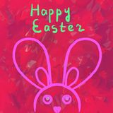 Happy Easter Postcard Simply Bunny on a red background Stock Photo