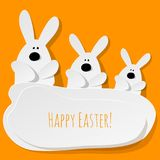 Happy Easter Postcard three Bunnies on a yellow background. stock illustration