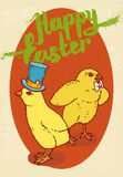 Happy Easter Postcard. With Two Little Chickens Royalty Free Stock Photography