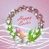 Happy easter. Postcard Happy Easter. Easter wreath with eggs Stock Photos
