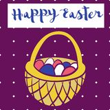 Happy easter poster, bascet wiith eggs. Card for Easter. Royalty Free Stock Photo