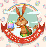 Happy easter poster with bunny and egg. Illustration Stock Photos