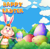 Happy Easter poster with bunny and eggs in the bush. Illustration Stock Image