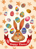 Happy Easter poster with bunny and eggs. Illustration Royalty Free Stock Photo