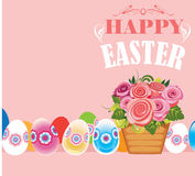 Happy easter, poster card with basket flowers and eggs Stock Image