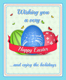Happy easter  poster. With colorful painted eggs, butterflies and ribbon Stock Photo