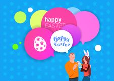 Happy Easter Poster With Couple And Funny Bunny On Colorful Chat Bubbles Background. Flat Vector Illustration stock illustration