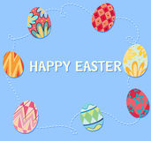 Happy Easter poster with decorated eggs. Illustration Royalty Free Stock Photos