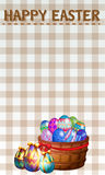 Happy Easter poster with decorated eggs. Illustration Stock Photo