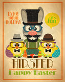 Happy Easter poster design hipster style Stock Photo