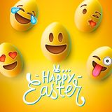 Happy Easter poster, easter eggs with cute smiling emoji faces, vector vector illustration