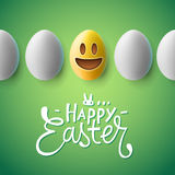 Happy Easter poster, easter eggs with emoji face Royalty Free Stock Image