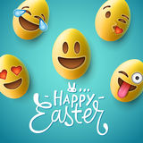 Happy Easter poster, easter eggs with emoji faces Stock Photos