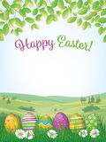 Happy Easter Poster with Easter Eggs in Grass Royalty Free Stock Photography