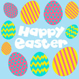 Happy Easter poster with eggs on blue background. Illustration Royalty Free Stock Images