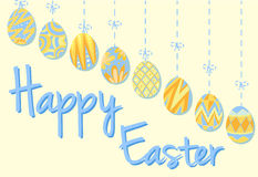 Happy Easter poster with eggs in blue and yellow Royalty Free Stock Photo