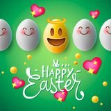 Happy Easter poster, easter eggs with cute smiling emoji faces, vector. stock illustration
