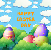 Happy Easter poster with eggs in the garden Royalty Free Stock Photography