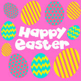 Happy Easter poster with eggs on pink background. Illustration Stock Photos