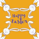 Happy easter poster, frame from hare ear Stock Photography