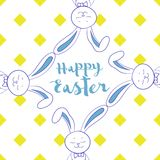 Happy easter poster, frame from hare ear Royalty Free Stock Image