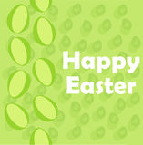 Happy Easter poster on green background with seamless minimalistic eggs Stock Images
