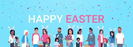 Happy Easter Poster With Group Of People Family Celebrating Spring Holiday Wear Bunny Ears Horizontal Banner. Flat Vector Illustration Royalty Free Stock Image
