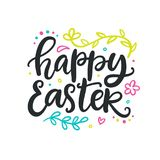 Happy Easter poster with hand lettering. Banner, greeting card template with modern calligraphy. Holiday poster. Typography design. Vector illustration Stock Photo