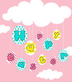 Happy Easter poster with pink background. Illustration Royalty Free Stock Photos