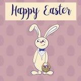 Happy easter poster, rabbit boy keeps egg bascet. Royalty Free Stock Images