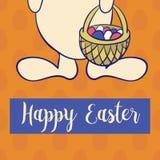 Happy easter poster, rabbit boy keeps egg bascet. Stock Image