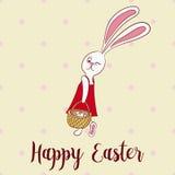 Happy easter poster, rabbit girl keeps egg bascet Stock Image