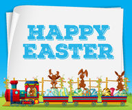 Happy Easter poster with rabbits on train Stock Photos