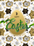 Happy Easter. Poster. Happy Easter. Sign, symbol, logo on a seamless background with the flowers and egg. Festive lettering. Gold black flowers pattern. Spring Stock Images
