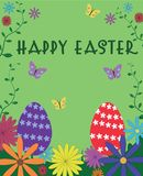 Happy Easter poster sign text on green background with flower ea. Ster eggs green leaves and butterfly cute vector illustration Stock Image