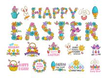Happy easter poster. Spring Christian holy festival and holiday decorative symbols, little cute bunny and colorful eggs in basket. Vector flat style cartoon Stock Images