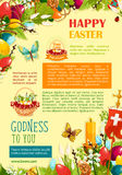 Happy Easter poster template with egg and flowers. Happy Easter greetings poster template. Coloured Easter eggs and spring flowers in egg hunt basket, candle and Stock Photography